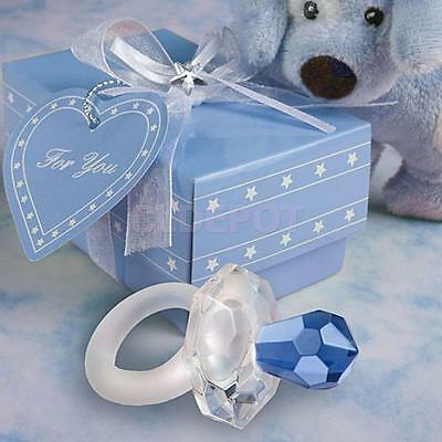 Boxed Crystal Pacifier Boy Baby Shower Party Gift Wedding Favors Dark Blue