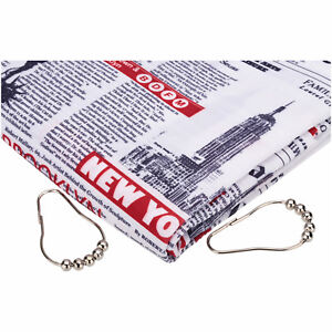Image Is Loading New York Newspaper 13Pc Fabric Shower Curtain Set