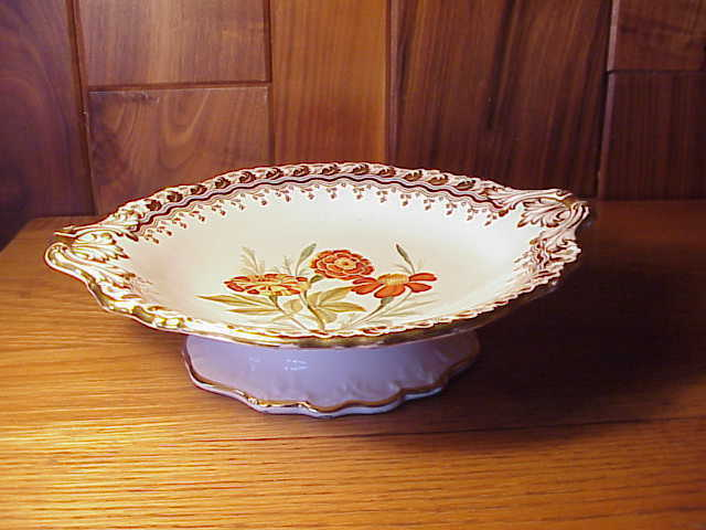 EXTRA FANCY HAND-PAINTED MARIor FLOWERS & HEAVY or TRIM FOOTED SERVING BOWL