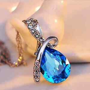Fashion Jewelry Liberal Collana Catenina Donna Ciondolo Goccia Swarovski Strass Cristallo Cuore Regalo Convenient To Cook Charms & Charm Bracelets