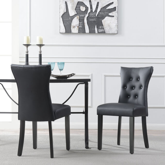 Monroe Leather Dining Chairs Set Of 2 For Sale Online Ebay