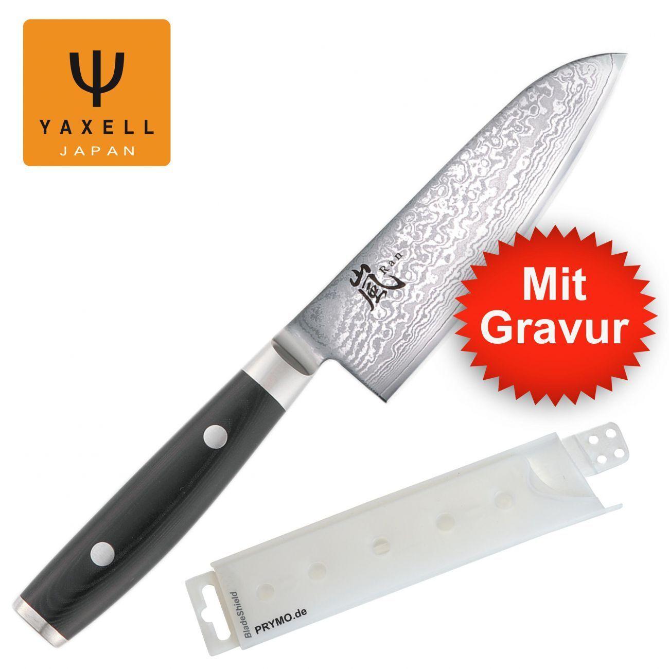 Mit Gravur - Yaxell RAN 69 Santokumesser 12,5 cm + PRYMO ® Klingenschutz