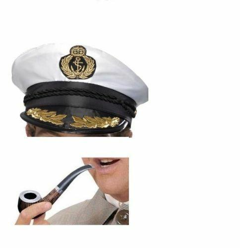 Captain Hat And Pipe Set Fancy Dress Hugh Hefner Stag Do Sailor Costume