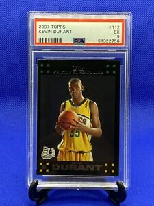 2007-08-Topps-Kevin-Durant-112-RC-Rookie-PSA-5-Black-Boarder-RARE-112