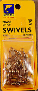 Trout Fishing 1 Pack Of 12 Walker #5 Brass Snap Swivels +A