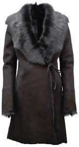 34 Negro Tiras Piel Y Toscana De Oveja Merino Mujer Abrigo 6q4POq