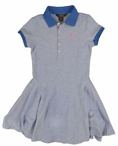 0c3b83a649 Polo Ralph Lauren Girl s Polo Shirt Fit   Flare Dress Pony Logo ...