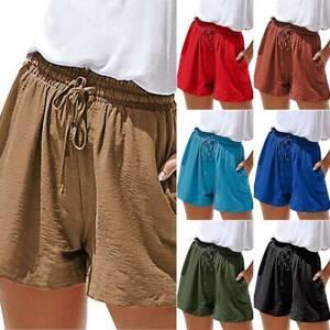 Fashion Women/'s Lace-up Solid Summer Shorts Ladies Casual Short Pants S-5XL AU