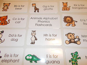 Details about 26 Animals Alphabet Phonics Laminated Flashcards. Preschool  Phonics and Literacy