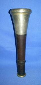 Antique Old Collectible Silver & Wood Hand Carved Indian Tribal Pipe Chillam