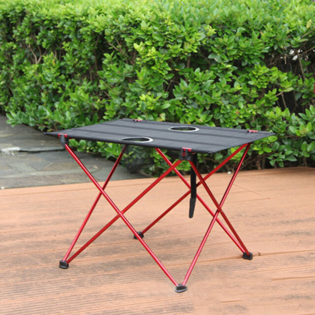 Aluminum Folding Table Portable Outdoor Picnic Party Camping With Cup Holder
