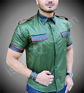 Mens-Hot-Genuine-Real-Sheep-LEATHER-Army-Green-Police-Uniform-Shirt-BLUF-Gay