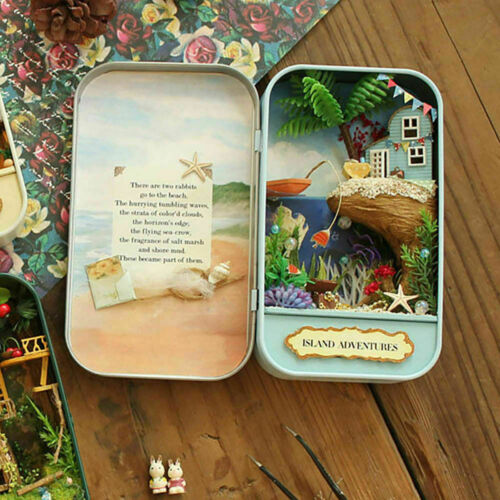 DIY Doll House Iron Box Model Furniture Children Dollhouse Island Adventures