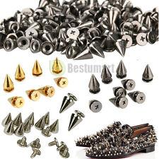 200 PCS Trendy 10MM Silver Spots Cone Screw Metal Studs Rivet Bullet Spikes DIY