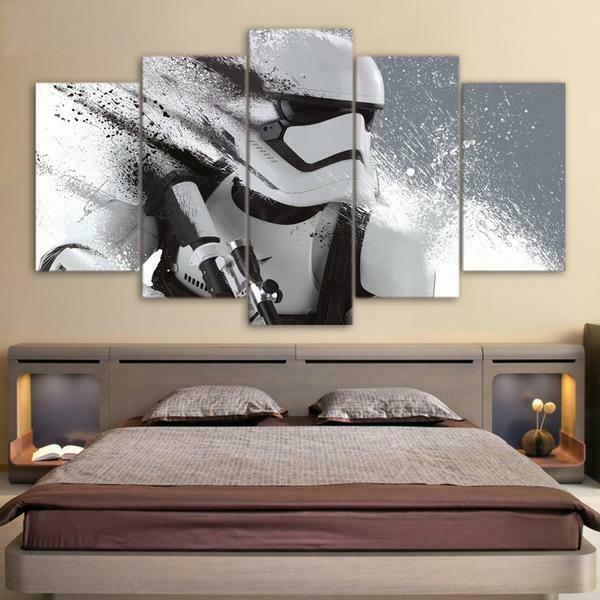 Star Wars Movie Stormtrooper Framed 5 Piece Canvas Wall Art Print Picture Poster