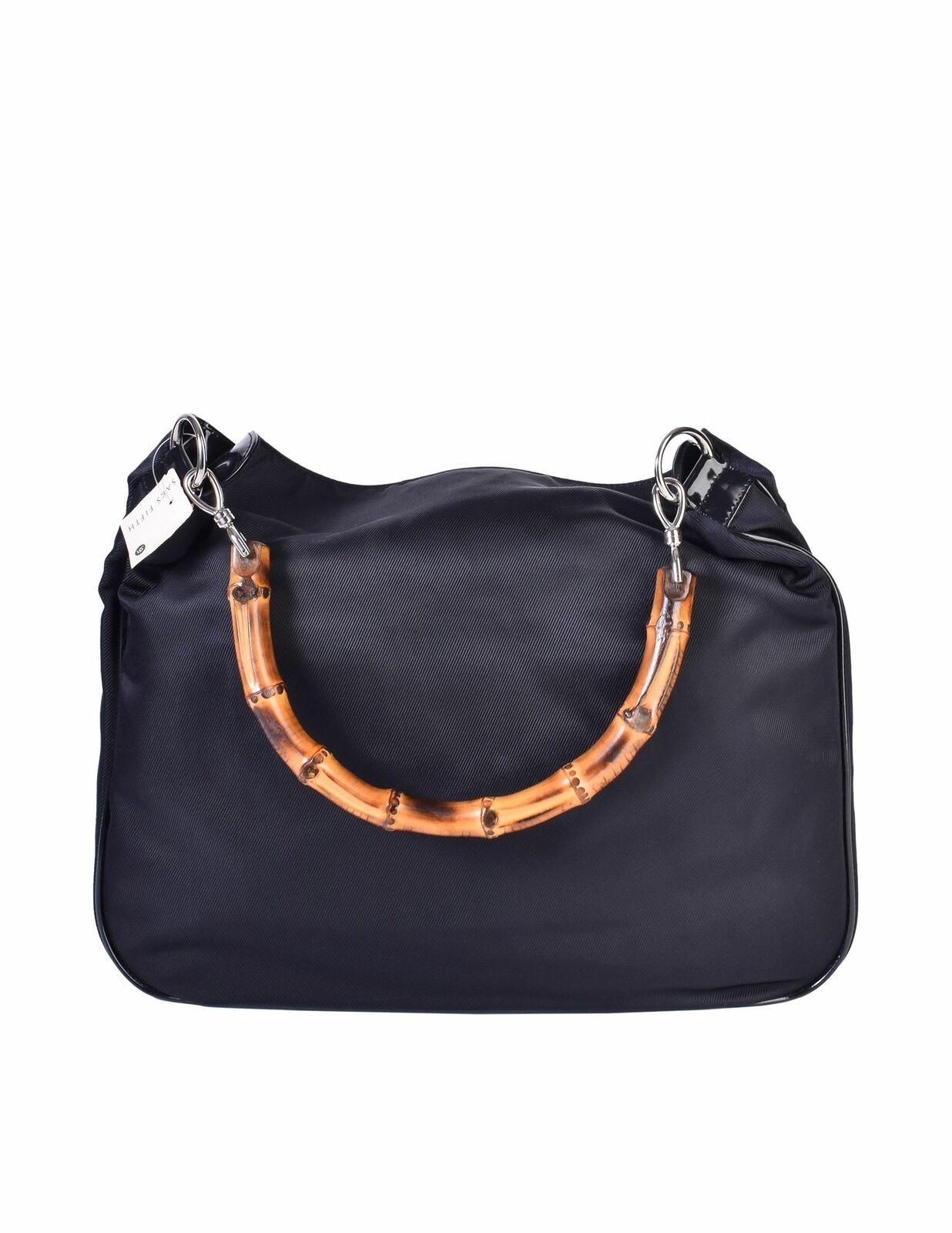 Gucci Vintage Large Navy Blue Nylon Patent Leathe… - image 6
