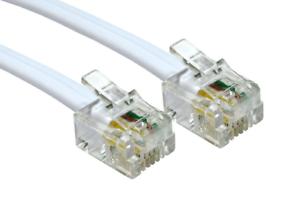 RJ11 to RJ11 Cable ADSL BT Broadband Modem Internet Router UK WHITE Lead