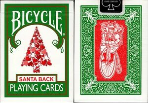 Santa-Back-Green-Deck-Bicycle-Playing-Cards-Poker-Size-USPCC-Limited-Custom-New