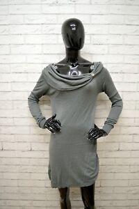 Vestito-LIU-JO-Donna-Taglia-Size-S-Abito-Dress-Tubino-Woman-Cotone-Grigio-Corto