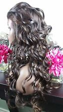 Beautiful Medium Brown/Light Auburn Lace Front Wig Long Curly Ht Sf