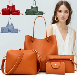 4Pcs-set-Women-Leather-Handbag-Shoulder-Tote-Purse-Satchel-Messenger-Bag-Ladies