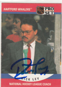 Autograph-Rick-Ley-Hartford-Whalers-WHA-In-Person-Auto-1990-91-Pro-Set-Coach
