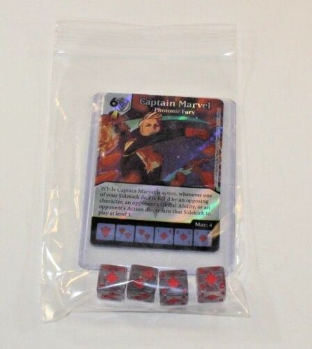 Marvel Dice Masters Guardians of Galaxy CAPTAIN MARVEL CUR Set RARE FOIL 4 dice