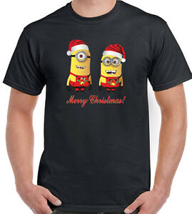 image is loading merry christmas mens funny minions t shirt minion - Minion Christmas Shirt