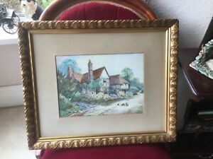A-Cottage-Scene-With-Hens-Watercolour-By-Miss-Edith-Langdon-R-A-1903