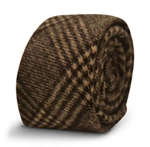 Frederick Thomas brown check tweed wool in velvet feel tie