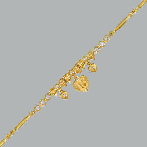 NEW 14K YELLOW gold CZ 15 ANOS BRACELET HEART BOW QUINCEANERA   6  - 7