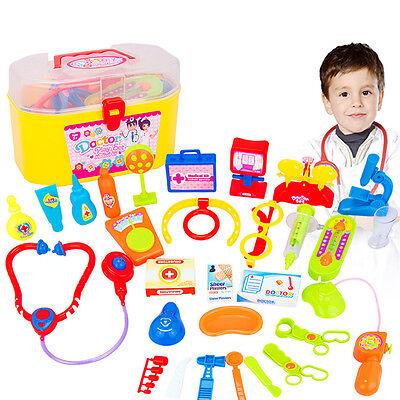 30 Pcs Kids Nurse Doctor Pretend Medical Set Case Kit Educational Role Play Toys