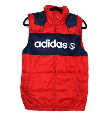 Adidas Neo Small Mens Red and Navy Blue Hooded Puffer Vest | eBay