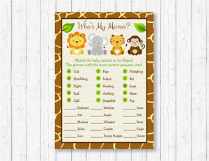 graphic about Baby Animal Match Game Printable named Facts more than Lovable Jungle Safari Pets Boy or girl Shower Youngster Animal Video game Recreation Printable