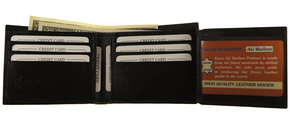 Mens Flip out Credit Card Cowhide Leather 2 ID Holder Slim Billfold Wallet New