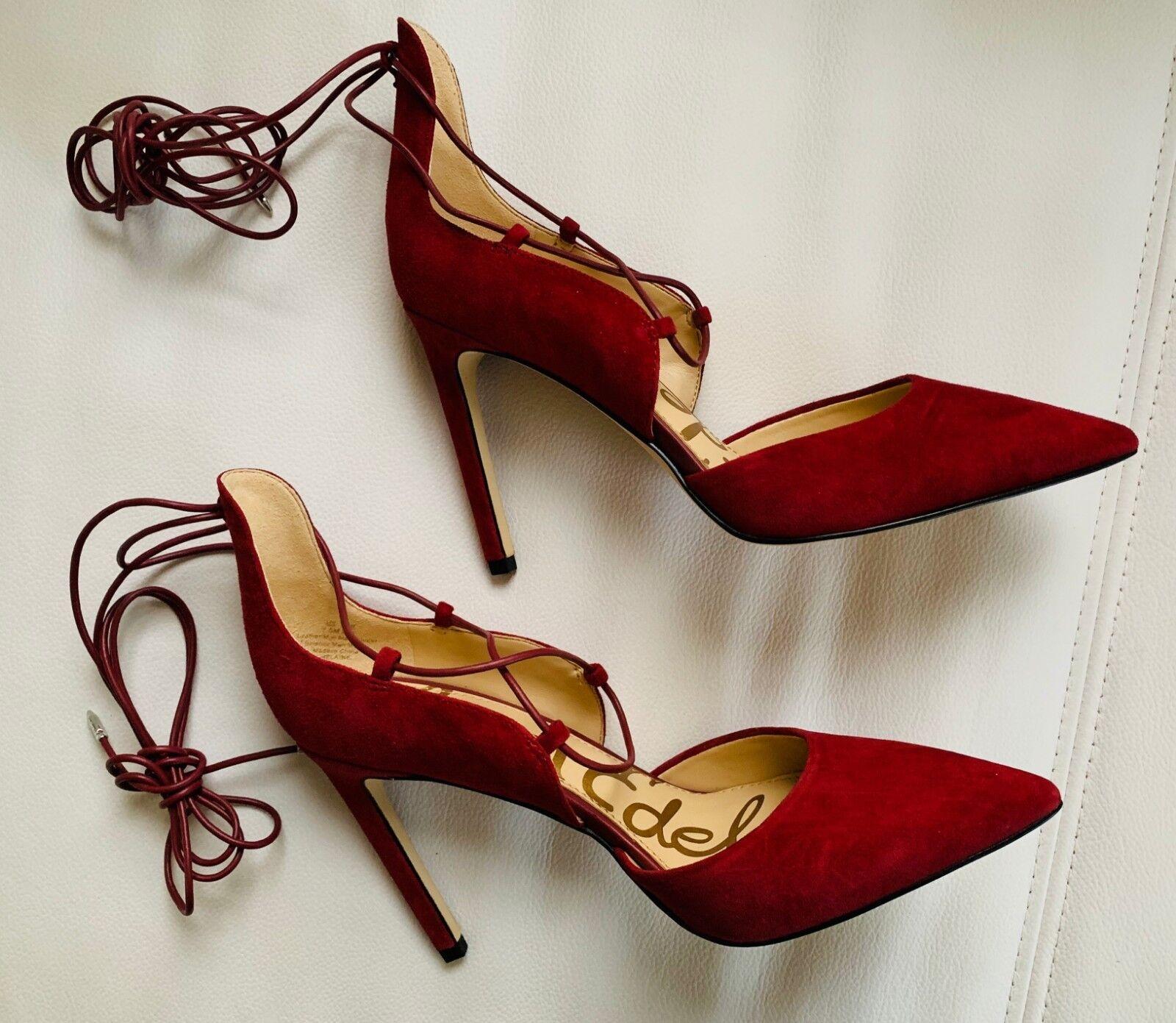autentico online Sam Edelman donna String Lace-Up Heels scarpe Wine Leather Leather Leather Suede 7.5 Medium  in vendita online