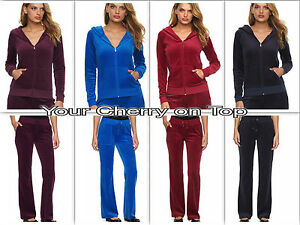 Image is loading Juicy-Couture-Velour-TrackSuit-Jacket-Hoodie-amp-Pants- 03d0b5ccb344