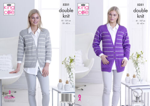 King Cole Ladies Double Knitting Pattern Womens Short or Long Cardigan 5251