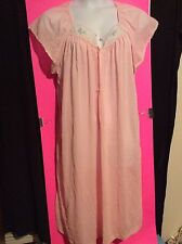 Womens Plus 2X Pink Silky Button Down Nightgown Cap Sleeve Long Gown Pajamas