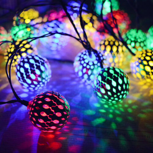 Solar Energy LED Hollow Iron Ball String Lights Birthday Christmas Party