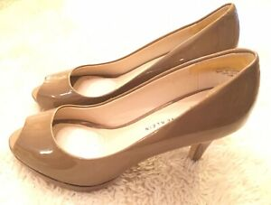 CALVIN KLEIN Nude Beige Patent Leather EMMY Classic