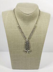 Vintage-Necklace-Silver-Tone-amp-Diamante-Tassel-Sparkly-Pretty-Party-Costume