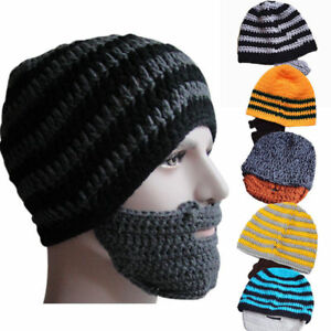 Image is loading Mens-Winter-Warm-Stripe-Beanie-Knitted-Wool-Face- cfb4c1a9a9b