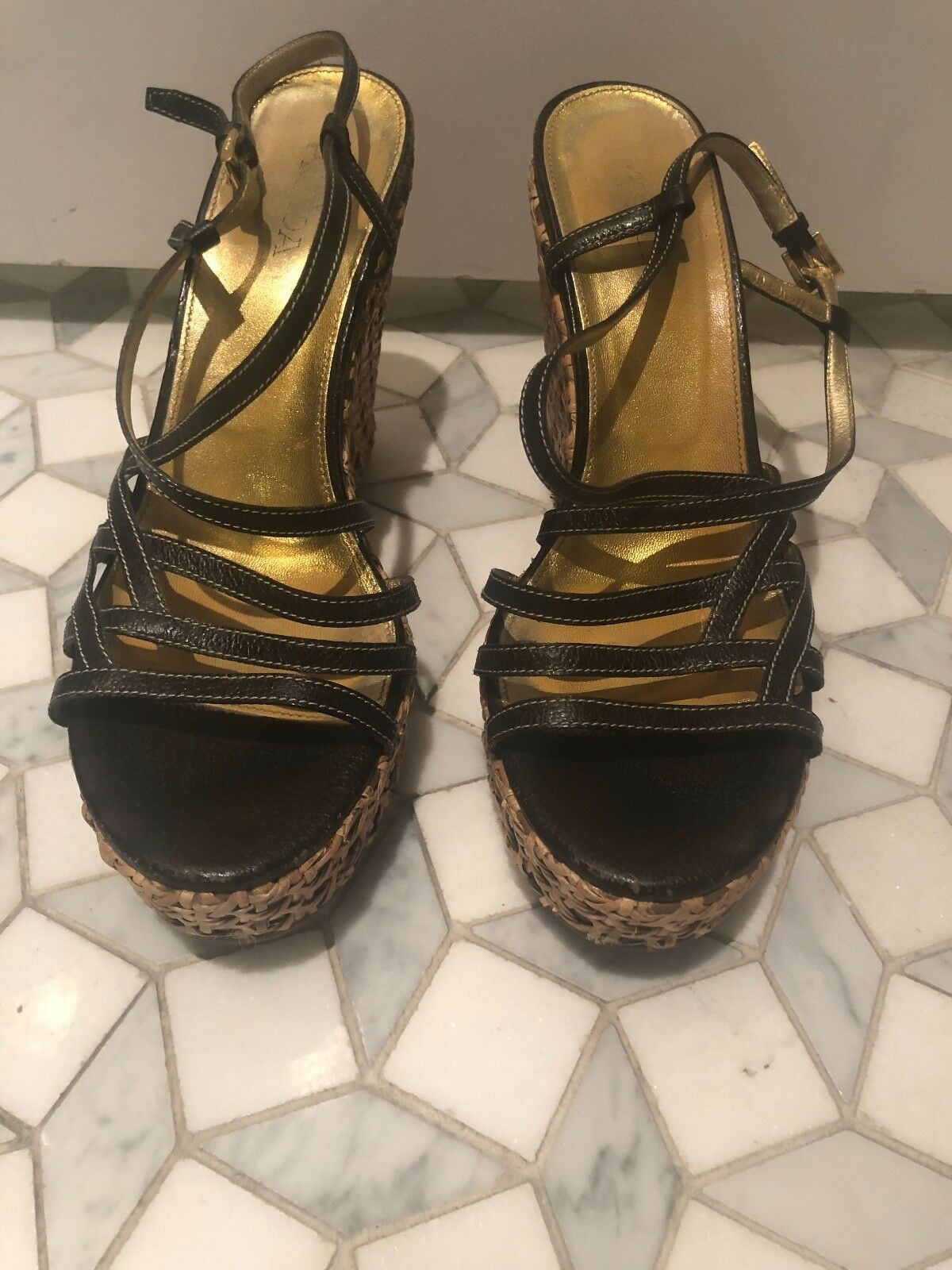 Men/Women PRADA-WOMEN BROWN LEATHER STRAPPY/WEDGE SANDALS-SIZE:41-MINT CONDITION! products Long-term reputation Let our products CONDITION! go to the world Fashion dynamic e3a14c