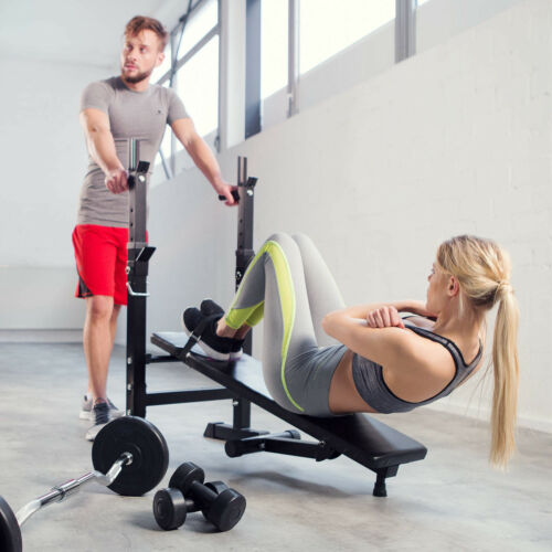 Hantelbank Trainingsbank mit Langhantel Ablage Flachbank Fitnessstation klappbar