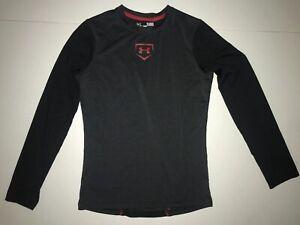 100% Vrai Under Armour Heat Gear Fitted Noir Rouge Chemise à Manches Longues Taille L Ylg Baseball-afficher Le Titre D'origine RafraîChissant Et Enrichissant La Salive