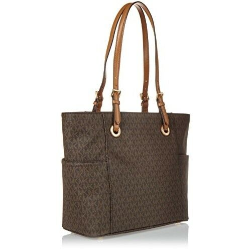 91031bc827eb5 Michael Kors Women s Jet Set Travel Small Logo Tote Bag Brown Monogram  Handbag