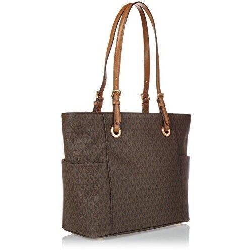ba5770b0e37e7 Michael Kors Women s Jet Set Travel Small Logo Tote Bag Brown Monogram  Handbag