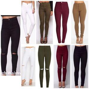 Nuevo Damas Mujeres Con Cintura Alta Sexy Skinny Jeans Pantalones Talla 4 6 8 10 12 14 16 Ebay