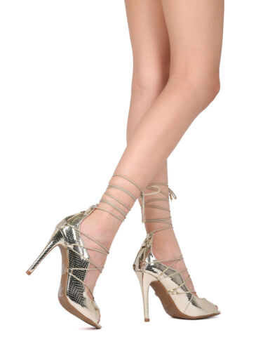 17912 By ML New Women Reptile Peep Toe Lace Up Ankle Wrap Stiletto Pump